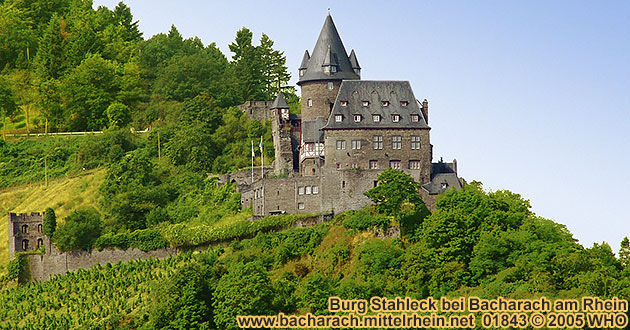 Castle Stahleck high above Bacharach from the right Rhine River side.
