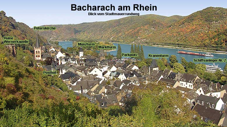 Bacharach Germany on the Rhine river with Ruins of Saint Werner's Chapel (Wernerkapelle), Peters Church (Peterskirche), Old Posthof (old mail yard), Mint Tower (Munzturm), Market Tower (Marktturm), Parking area, Crane Tower (Kranenturm), Boat landing Stage no. 2.