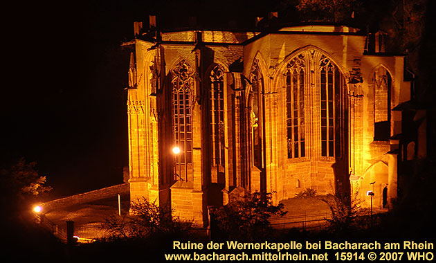 Ruins of Saint Werner's Chapel (Wernerkapelle) above Bacharach Germany on the Rhine River.