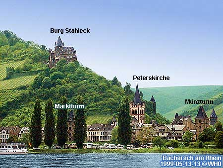Rhine River Day Boat Cruise Bacharach Germany Tours Banks Middle - Rhine valley germany map