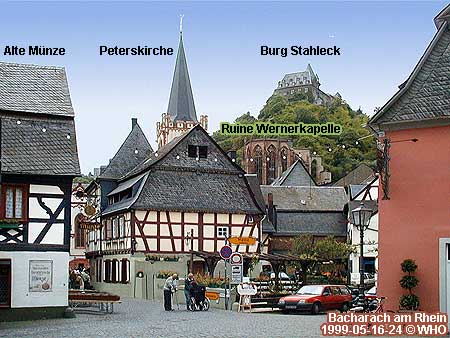 Bacharach on the Rhine river with Old Mint (Alte Munze, Peters Church (Peterskirche) Ruins of Saint Werner's Chapel (Wernerkapelle) and Castle (Burg) Stahleck.