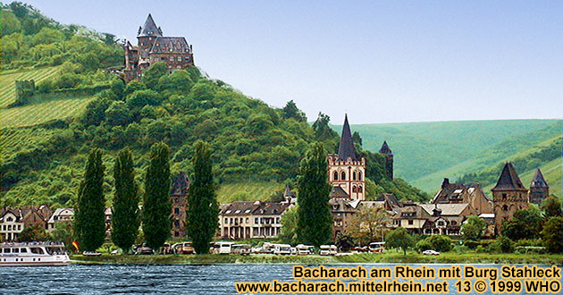 Bacharach on the Rhine River with castle Stahleck, Peterskirche (Peter's church) and the towers Marktturm and Munzturm.