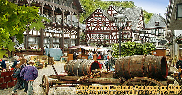 Bacharach on the Rhine River, Wine market on the Market Place.