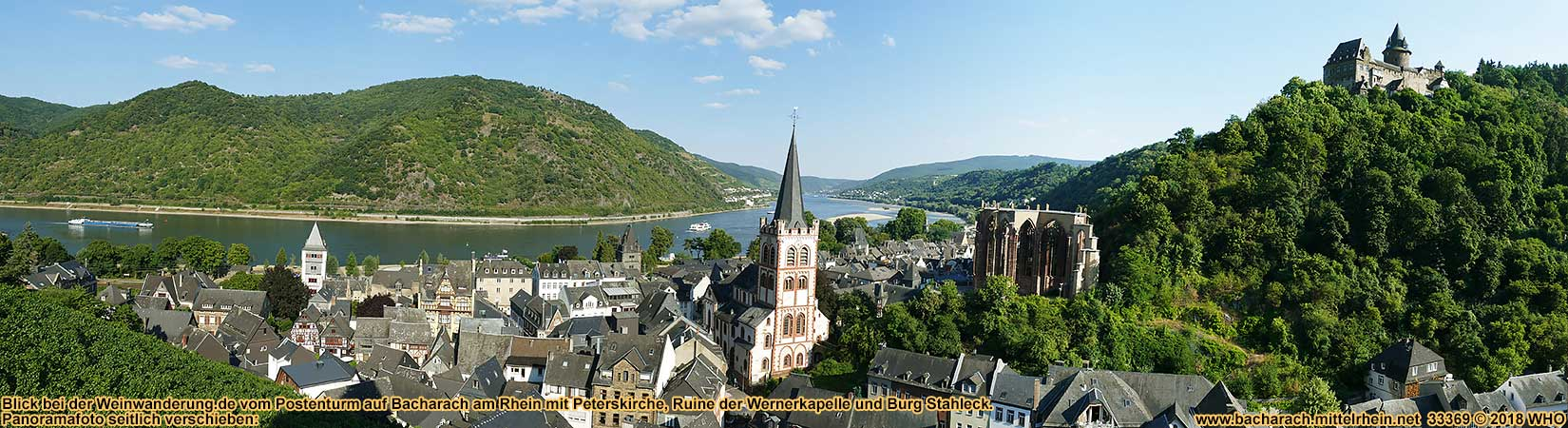 View from Postenturm to Bacharach on the Rhine River