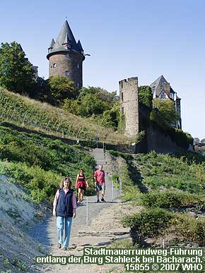 Town wall loop road from Bacharach on the Rhine River to castle Stahlberg.