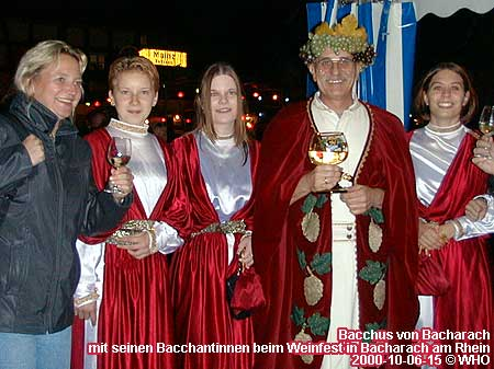 Wine God Bacchus from Bacharach and his Bacchantinnen on the wine festival in Bacharach on the Rhine River.
