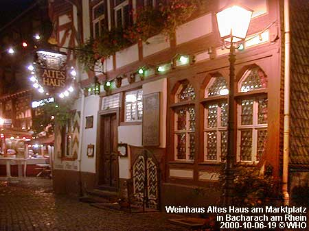 Wine house Old House (Altes Haus) on the Market Place in Bacharach on the Rhine River.