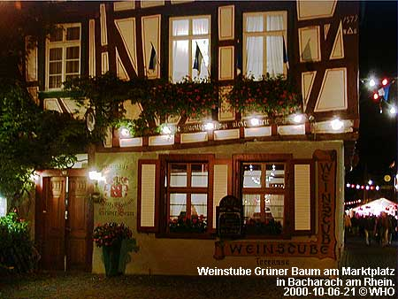Wine house Green Tree (Gruner Baum) on the Market Place in Bacharach on the Rhine River.